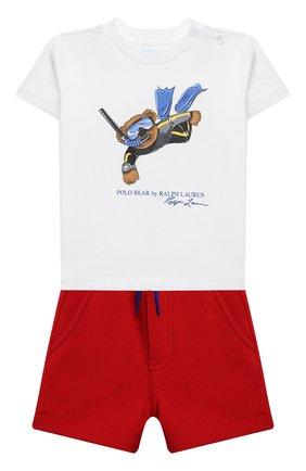 Детский комплект из футболки и шорт POLO RALPH LAUREN красного цвета, арт. 320836013 | Фото 1
