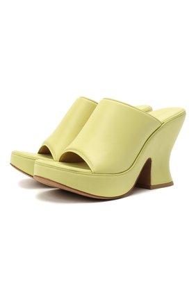 Женские кожаные мюли wedge BOTTEGA VENETA желтого цвета, арт. 658979/VBSD0 | Фото 1
