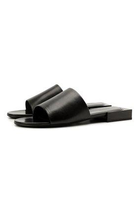 Женские кожаные шлепанцы  box f05 BALENCIAGA черного цвета, арт. 653796/WA8FF | Фото 1 (Подошва: Плоская; Материал внутренний: Натуральная кожа; Каблук высота: Низкий)