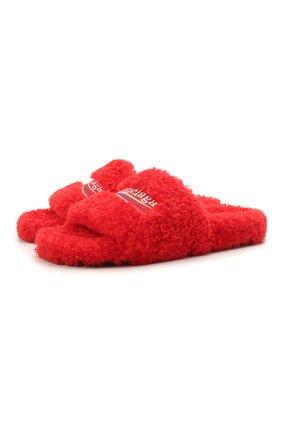 Женские текстильные шлепанцы furry BALENCIAGA красного цвета, арт. 654261/W2D01 | Фото 1
