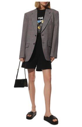 Женские резиновые шлепанцы mono BALENCIAGA черного цвета, арт. 654315/W1S89 | Фото 2