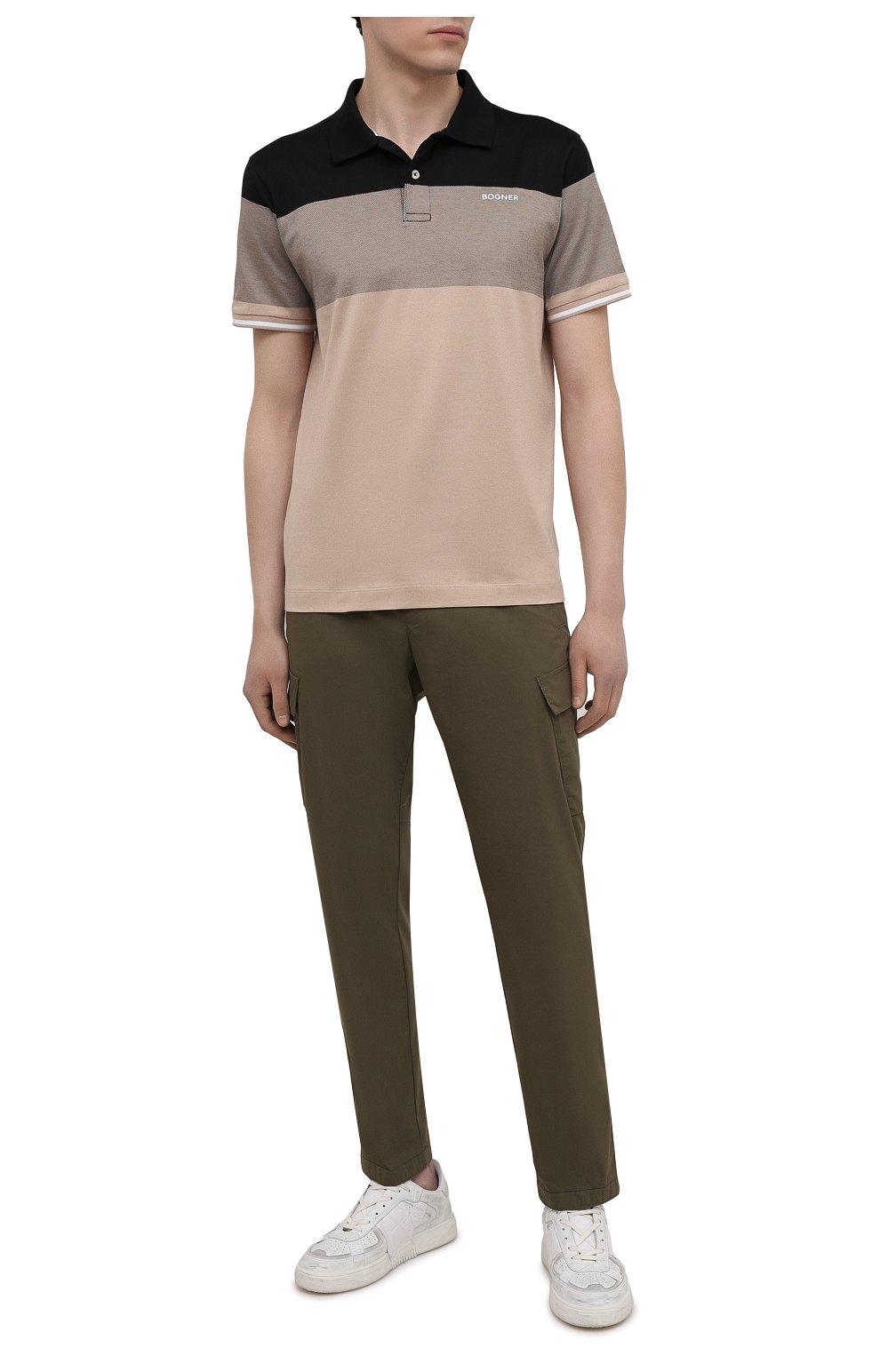 Мужские хлопковые брюки-карго BOGNER хаки цвета, арт. 18013753 | Фото 2 (Силуэт М (брюки): Карго; Длина (брюки, джинсы): Стандартные; Случай: Повседневный; Материал внешний: Хлопок; Стили: Кэжуэл)