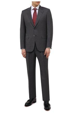 Мужской шерстяной костюм BRIONI серого цвета, арт. RARX0L/01A28/VIRGILI0 | Фото 1 (Рукава: Длинные; Материал подклада: Купро; Материал внешний: Шерсть; Костюмы М: Однобортный; Стили: Классический)