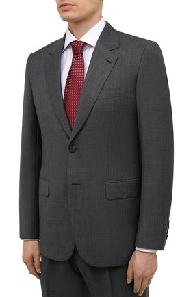 Мужской шерстяной костюм BRIONI серого цвета, арт. RARX0L/01A28/VIRGILI0 | Фото 2 (Рукава: Длинные; Материал подклада: Купро; Материал внешний: Шерсть; Костюмы М: Однобортный; Стили: Классический)
