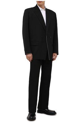 Мужские хлопковые брюки BOTTEGA VENETA черного цвета, арт. 657796/V0BT0 | Фото 2 (Материал внешний: Хлопок; Случай: Повседневный; Стили: Минимализм; Длина (брюки, джинсы): Стандартные)
