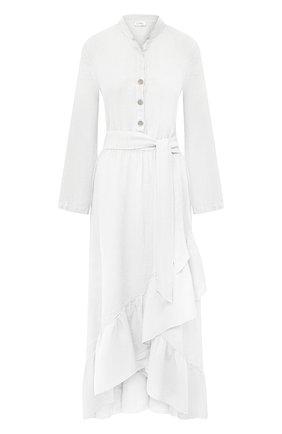 Женское льняное платье LA FABBRICA DEL LINO белого цвета, арт. 00309   Фото 1