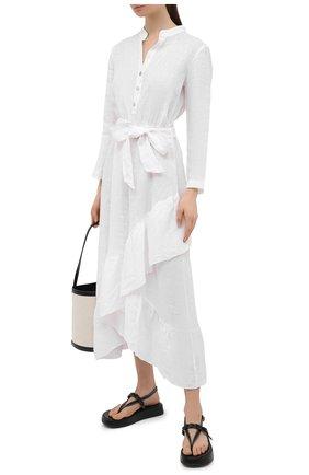 Женское льняное платье LA FABBRICA DEL LINO белого цвета, арт. 00309   Фото 2
