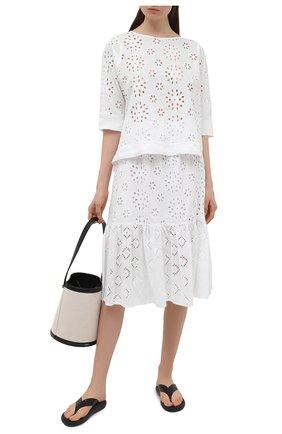 Женская хлопковая блузка LA FABBRICA DEL LINO белого цвета, арт. 10504   Фото 2
