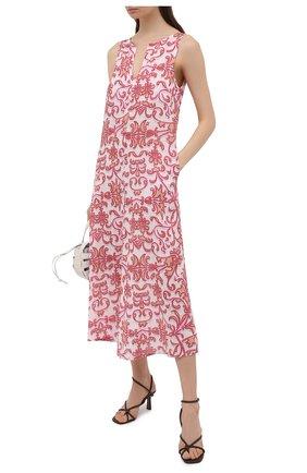 Женское льняное платье LA FABBRICA DEL LINO розового цвета, арт. 10334 | Фото 2