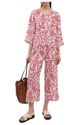 Женские льняное брюки LA FABBRICA DEL LINO розового цвета, арт. 10110 | Фото 2