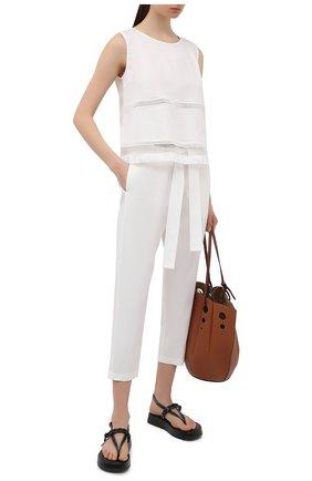 Женские льняные брюки LA FABBRICA DEL LINO кремвого цвета, арт. 10106 | Фото 2