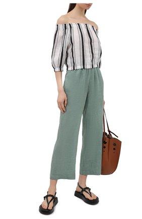 Женские льняные брюки LA FABBRICA DEL LINO хаки цвета, арт. 00105 | Фото 2