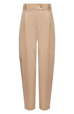 Женские брюки из хлопка и шелка BOSS бежевого цвета, арт. 50447703 | Фото 1