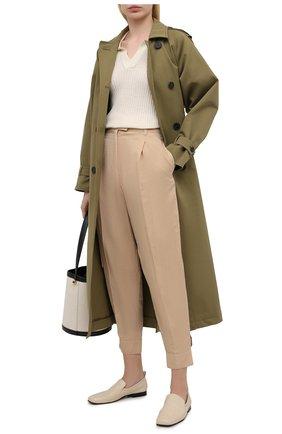 Женские брюки из хлопка и шелка BOSS бежевого цвета, арт. 50447703 | Фото 2