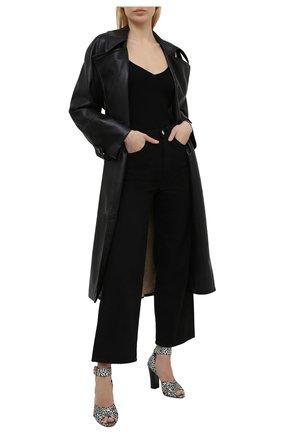 Женские кожаные босоножки TOM FORD черно-белого цвета, арт. W2918T-TSA011 | Фото 2