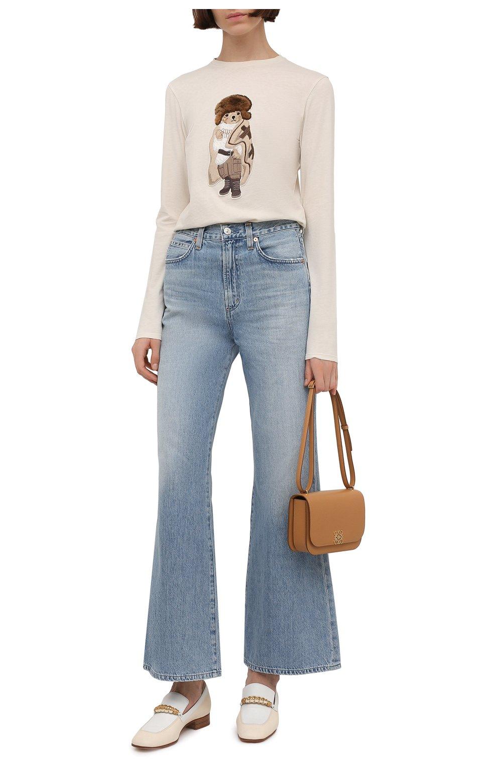 Женские кожаные лоферы LORO PIANA бежевого цвета, арт. FAL6202 | Фото 2