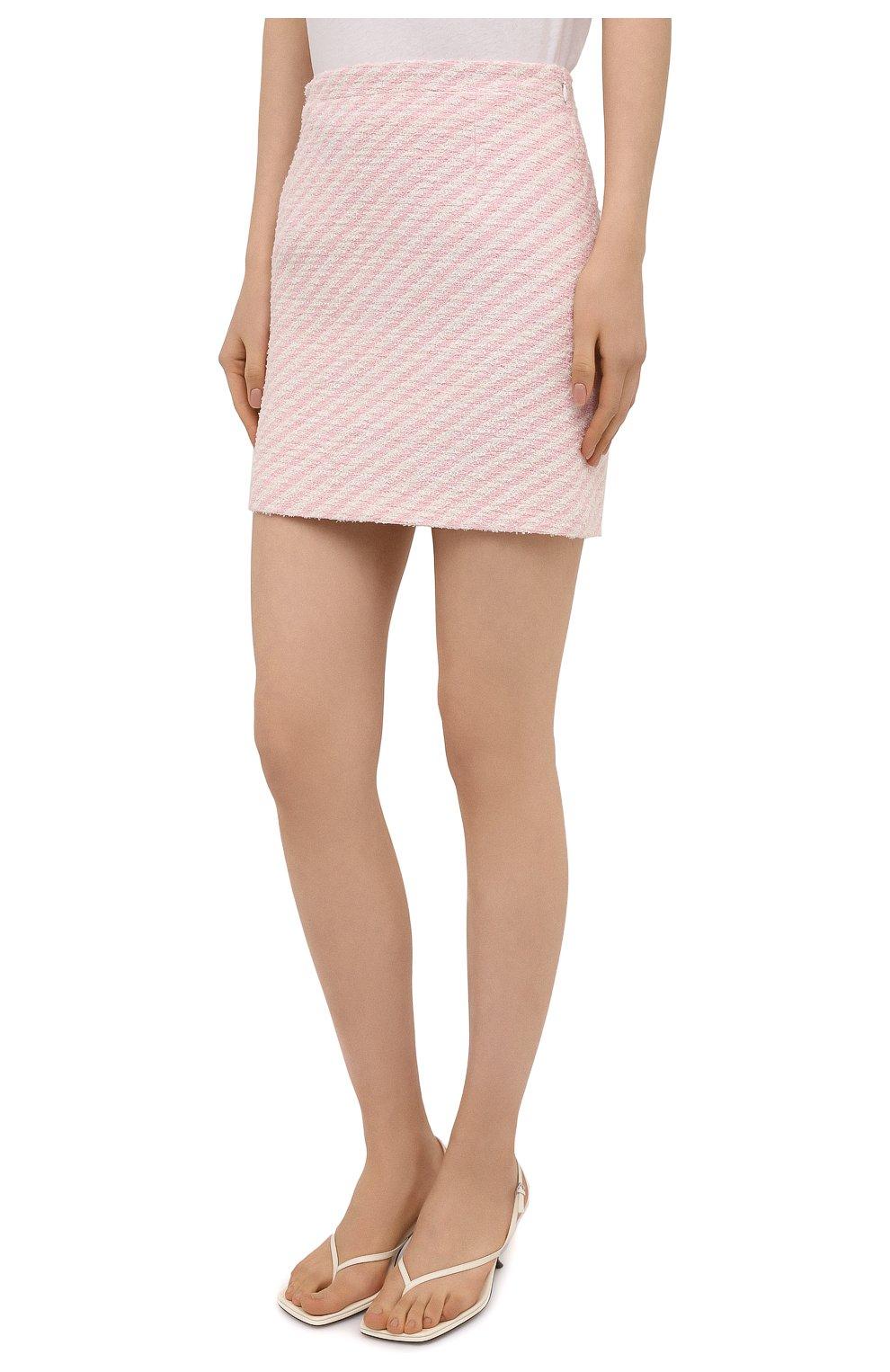 Женская юбка из хлопка и вискозы ALESSANDRA RICH светло-розового цвета, арт. FAB1441-F3172 | Фото 3