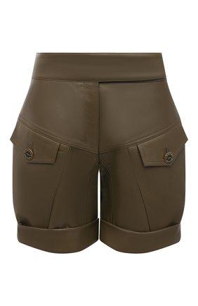 Женские кожаные шорты ALEXANDRE VAUTHIER хаки цвета, арт. 211LPA1407 0404 | Фото 1