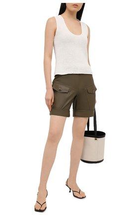 Женские кожаные шорты ALEXANDRE VAUTHIER хаки цвета, арт. 211LPA1407 0404 | Фото 2