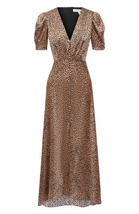 Женское шелковое платье SALONI коричневого цвета, арт. 1764-1390 | Фото 1