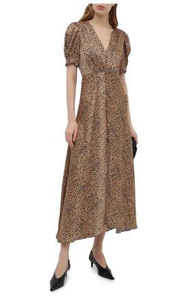 Женское шелковое платье SALONI коричневого цвета, арт. 1764-1390 | Фото 2