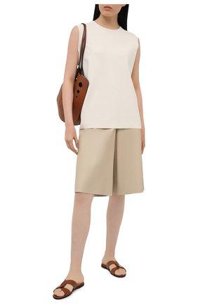 Женские кожаные шлепанцы atia JIMMY CHOO коричневого цвета, арт. ATIA FLAT/VAC | Фото 2