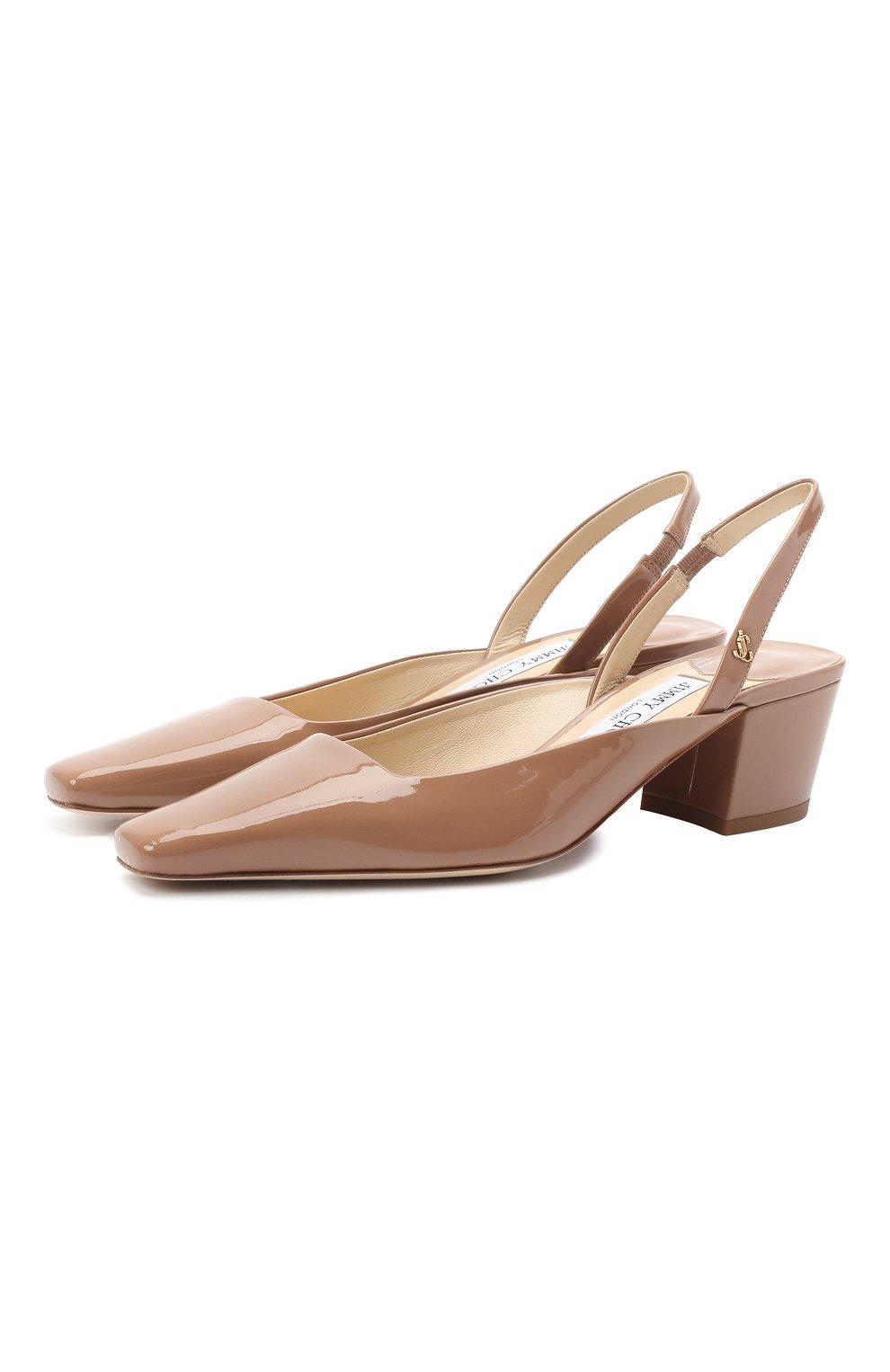 Женские кожаные туфли gini 45 JIMMY CHOO темно-бежевого цвета, арт. GINI 45/GHE | Фото 1