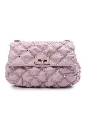 Женская сумка spikeme VALENTINO светло-сиреневого цвета, арт. VW0B0H78/MCW   Фото 1 (Ремень/цепочка: На ремешке; Материал: Натуральная кожа; Сумки-технические: Сумки через плечо; Размер: medium)