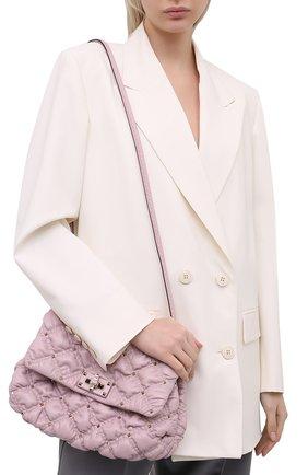 Женская сумка spikeme VALENTINO светло-сиреневого цвета, арт. VW0B0H78/MCW   Фото 2 (Ремень/цепочка: На ремешке; Материал: Натуральная кожа; Сумки-технические: Сумки через плечо; Размер: medium)