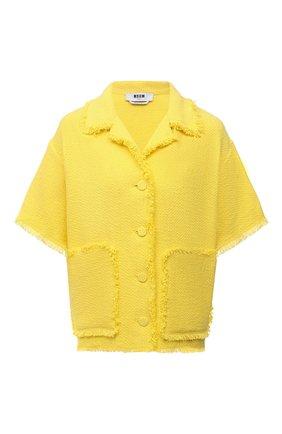Женский хлопковый жакет MSGM желтого цвета, арт. 3042MDE109X 217306   Фото 1