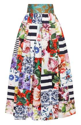 Женская хлопковая юбка DOLCE & GABBANA разноцветного цвета, арт. F4B3YT/GDY03 | Фото 1