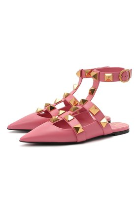 Женские кожаные балетки roman stud runway VALENTINO розового цвета, арт. VW0S0BY5/ZWM | Фото 1