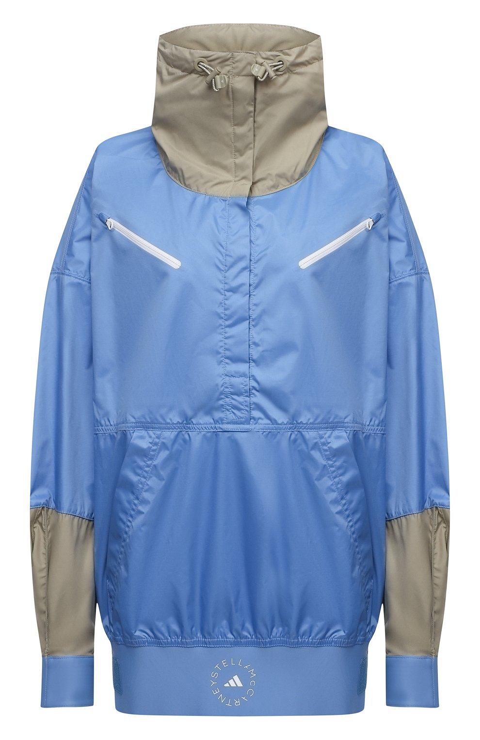 Женская ветровка ADIDAS BY STELLA MCCARTNEY голубого цвета, арт. GL7332 | Фото 1 (Кросс-КТ: Куртка, Ветровка; Рукава: Длинные; Женское Кросс-КТ: Куртка-спорт; Длина (верхняя одежда): До середины бедра; Материал внешний: Синтетический материал; Стили: Спорт-шик)