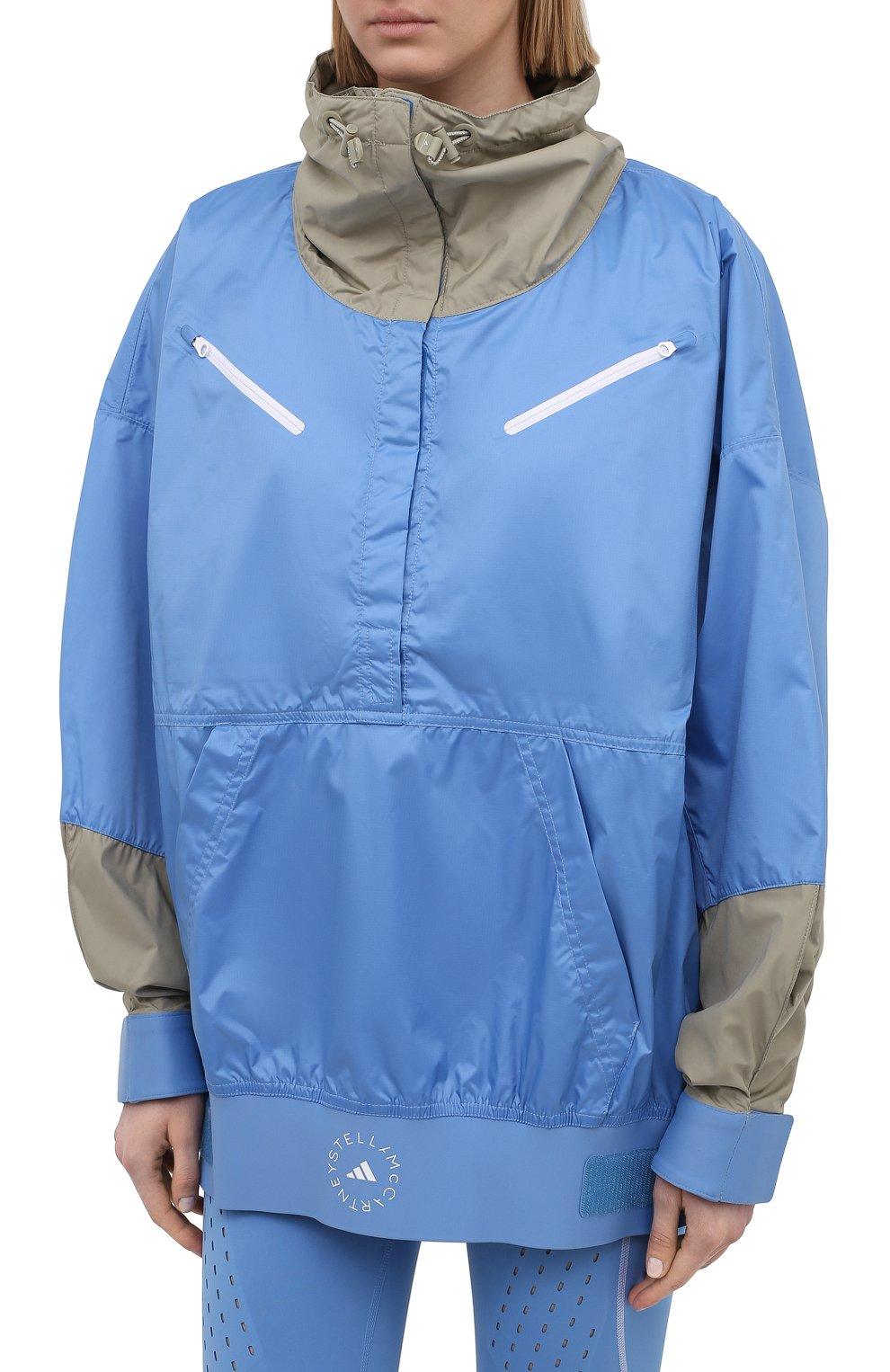 Женская ветровка ADIDAS BY STELLA MCCARTNEY голубого цвета, арт. GL7332 | Фото 3 (Кросс-КТ: Куртка, Ветровка; Рукава: Длинные; Женское Кросс-КТ: Куртка-спорт; Длина (верхняя одежда): До середины бедра; Материал внешний: Синтетический материал; Стили: Спорт-шик)