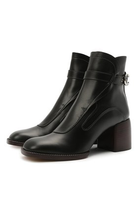 Женские кожаные ботильоны gaile CHLOÉ черного цвета, арт. CHC21S411L4   Фото 1