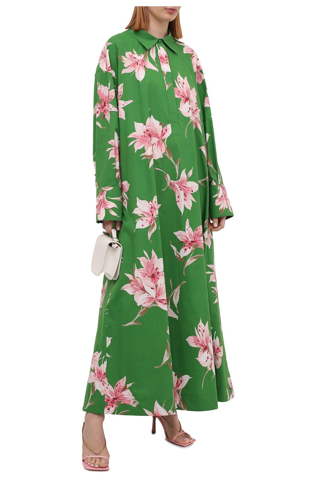 Женское хлопковое платье VALENTINO зеленого цвета, арт. VB0VDBU66DC   Фото 2