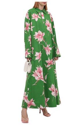 Женское хлопковое платье VALENTINO зеленого цвета, арт. VB0VDBU66DC | Фото 2