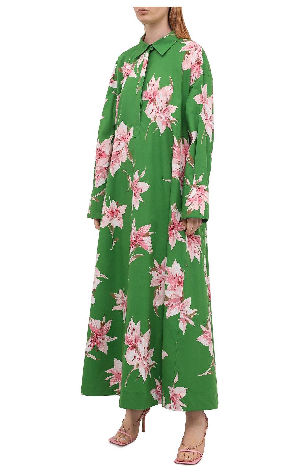 Женское хлопковое платье VALENTINO зеленого цвета, арт. VB0VDBU66DC   Фото 3