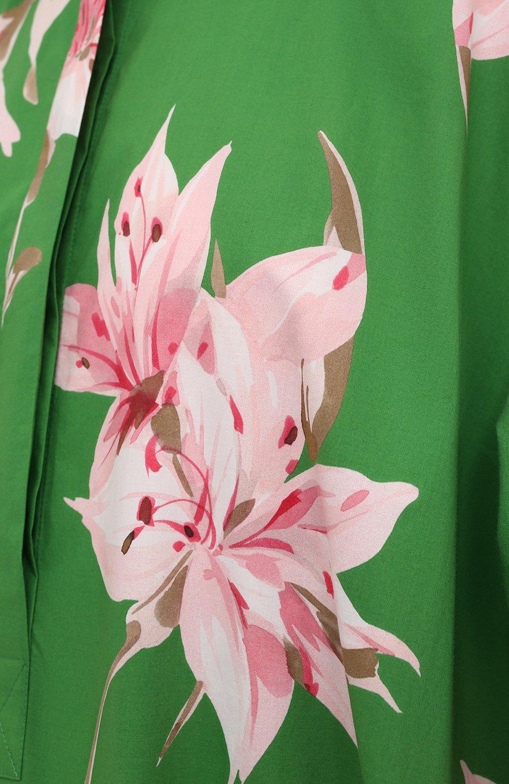 Женское хлопковое платье VALENTINO зеленого цвета, арт. VB0VDBU66DC   Фото 5