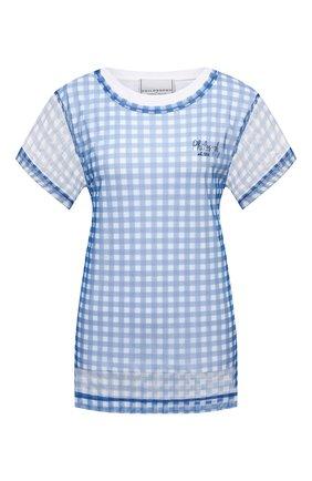 Женская хлопковая футболка PHILOSOPHY DI LORENZO SERAFINI синего цвета, арт. A0706/2144 | Фото 1