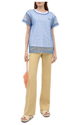 Женская хлопковая футболка PHILOSOPHY DI LORENZO SERAFINI синего цвета, арт. A0706/2144 | Фото 2