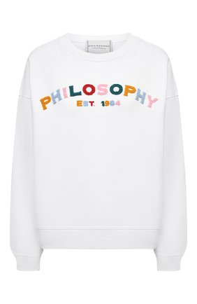 Женский хлопковый свитшот PHILOSOPHY DI LORENZO SERAFINI белого цвета, арт. A1701/2148 | Фото 1