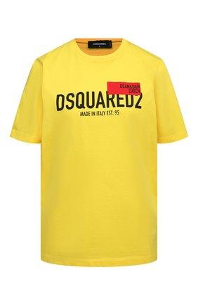 Женская хлопковая футболка DSQUARED2 желтого цвета, арт. S72GD0300/S23009 | Фото 1