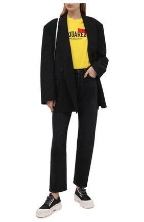 Женская хлопковая футболка DSQUARED2 желтого цвета, арт. S72GD0300/S23009 | Фото 2