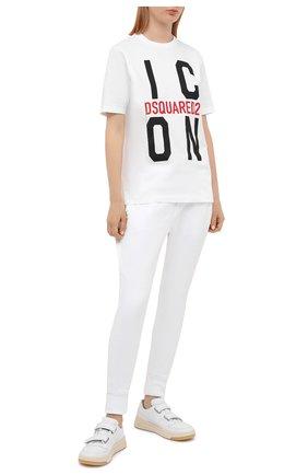 Женская хлопковая футболка DSQUARED2 белого цвета, арт. S80GC0024/S23009 | Фото 2