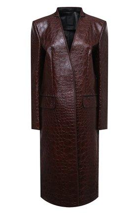 Женское кожаное пальто GIVENCHY темно-коричневого цвета, арт. BWC08S6100 | Фото 1