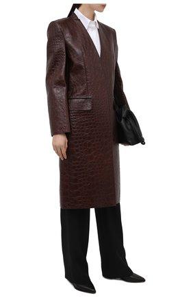 Женское кожаное пальто GIVENCHY темно-коричневого цвета, арт. BWC08S6100 | Фото 2