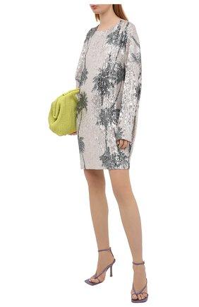 Женское платье с пайетками IN THE MOOD FOR LOVE серебряного цвета, арт. ALEXANDRA PALM TREE DRESS | Фото 2