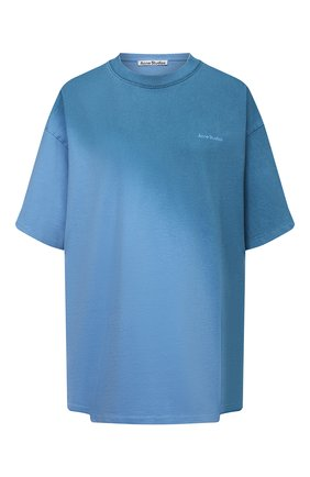 Женская хлопковая футболка ACNE STUDIOS голубого цвета, арт. AL0205   Фото 1