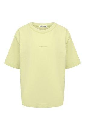 Женская хлопковая футболка ACNE STUDIOS светло-зеленого цвета, арт. AL0149 | Фото 1